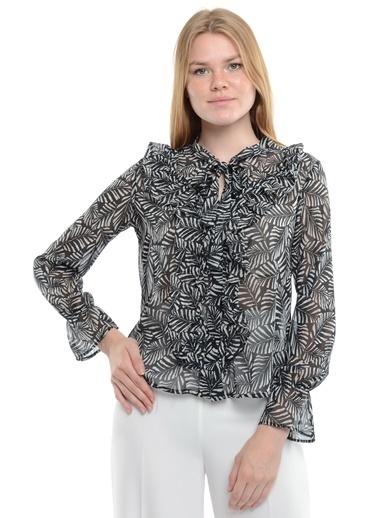 Reyon Desenli Fırfırlı  Kadın Gömlek Mint Siyah